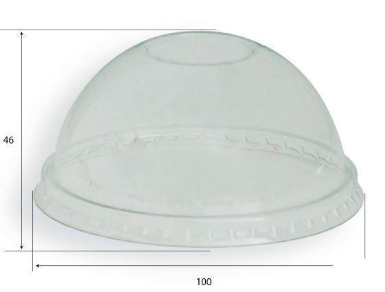 Coperchio cupola trasparente non impilabile senza foro per bicchiere da 400, 500 e 600 ml