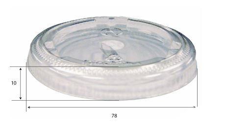 Coperchio trasparente piano con foro pretagliato per bicchiere da 250 e 290 ml