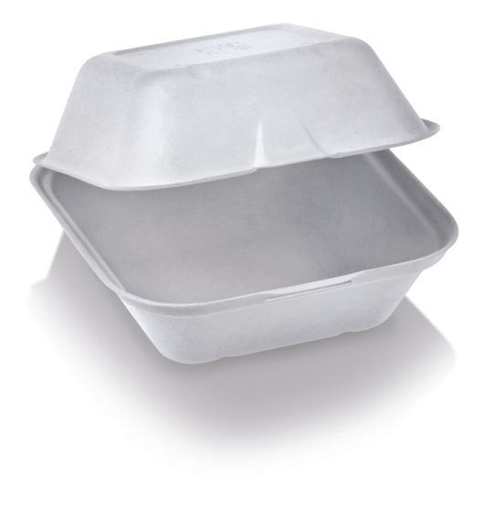 Box burger large richiudibile in polpa di cellulosa 13,5 x 13,5 x 7,8 cm