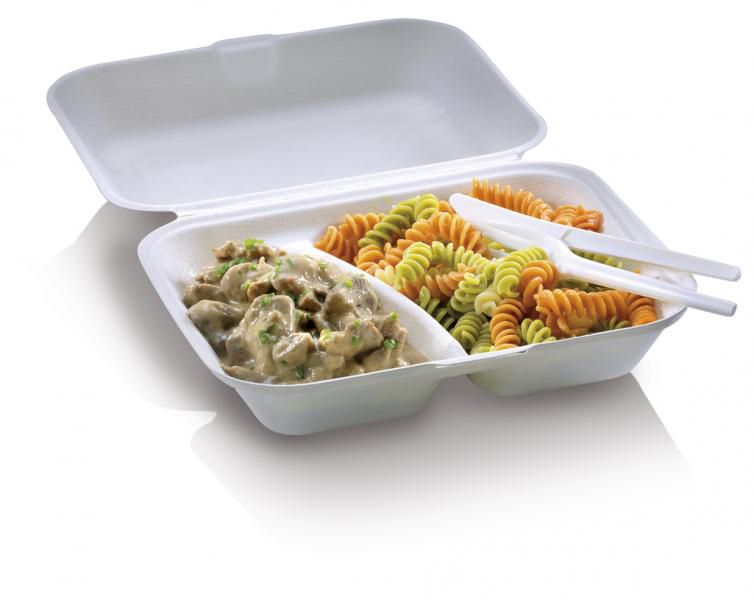 Food Box in polpa di cellulosa due scomparti con coperchio 650 ml 23,5x19,5x7,5 cm