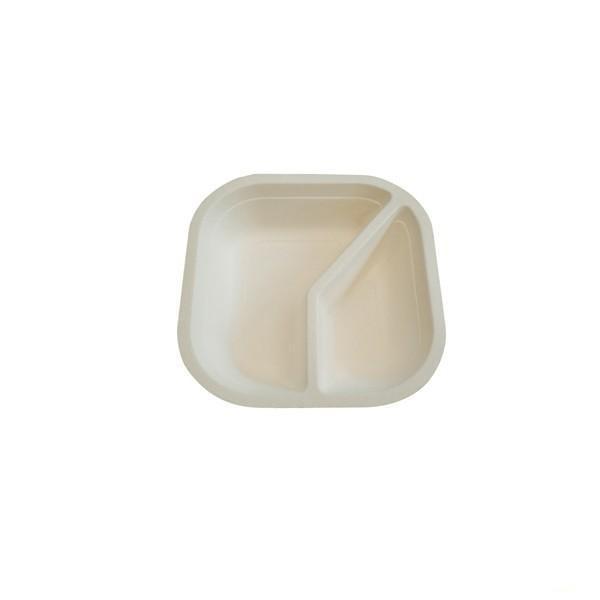 Piatto quadrato fondo biscomparto in polpa di cellulosa