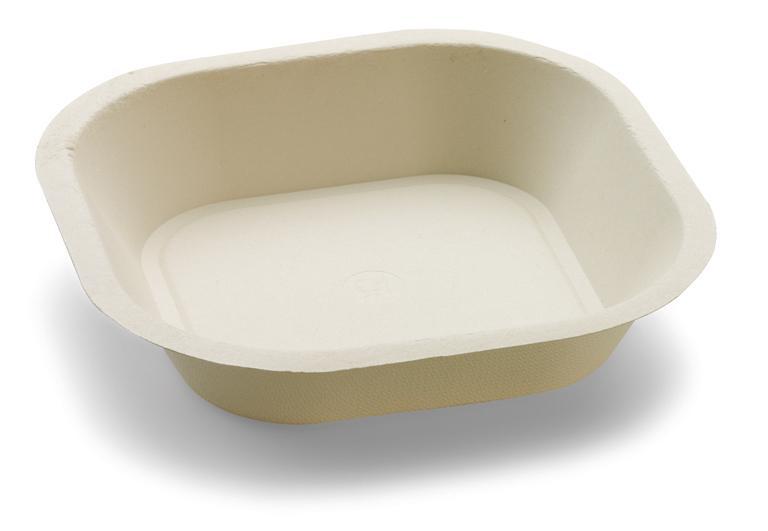 Piatto quadrato fondo in polpa di cellulosa