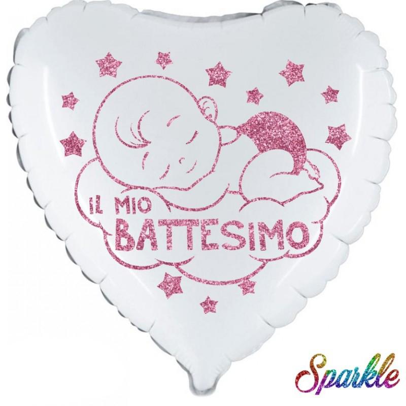 "Battesimo Bimba Sparkle (18"") Bianco"