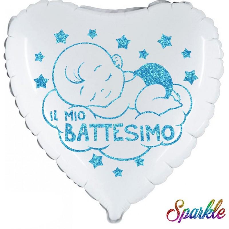 "Battesimo Bimbo Sparkle (18"") Bianco"