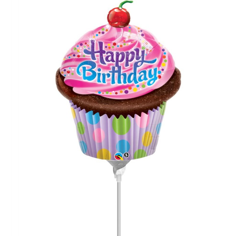"Happy Birthday Cupcake Minishape (14"")"