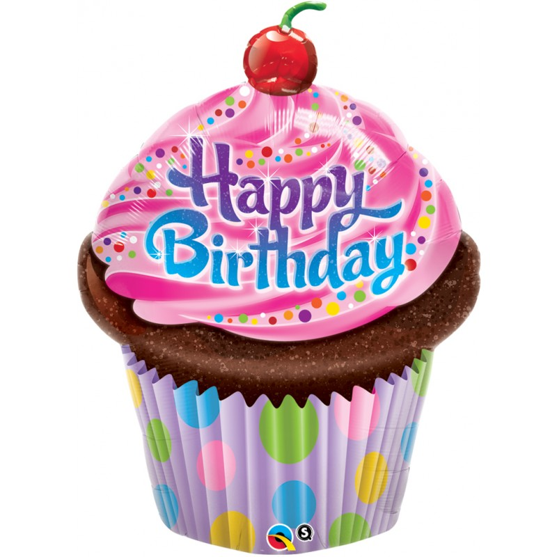 "Happy Birthday Cupcake SuperShape (35"")"