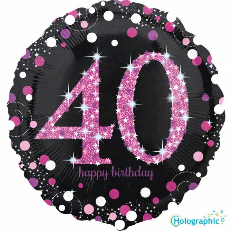"""40 Compleanno Scintillante Rosa (18"""")"""