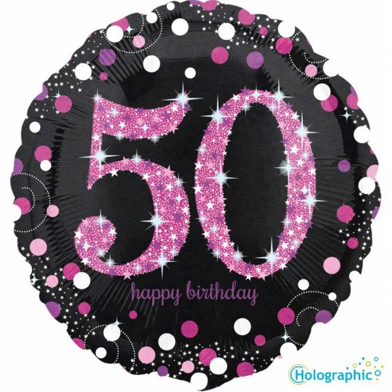 """50 Compleanno Scintillante Rosa (18"""")"""