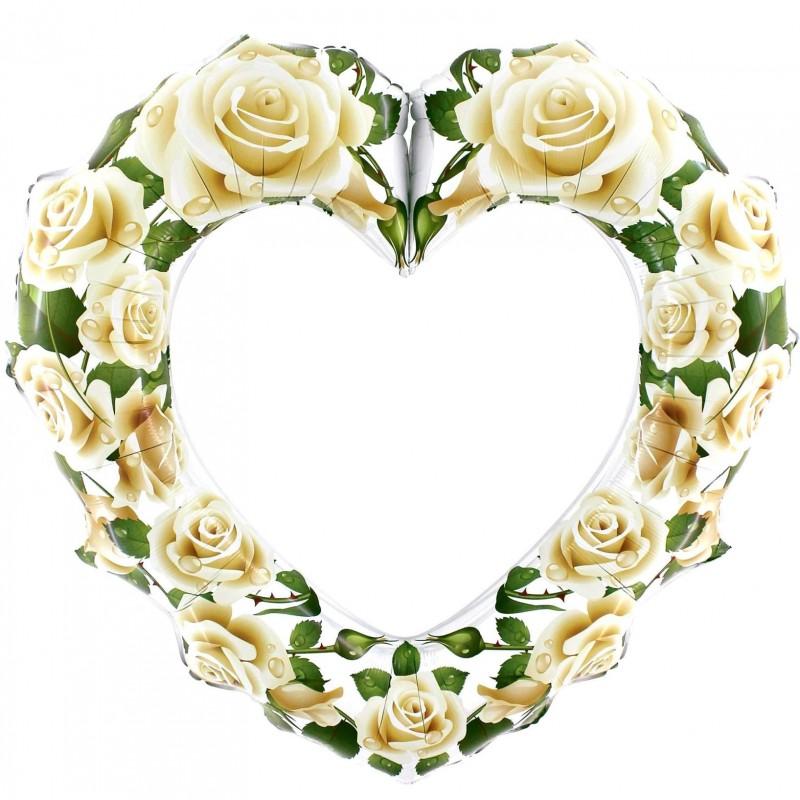 Cornice con Rose Bianche