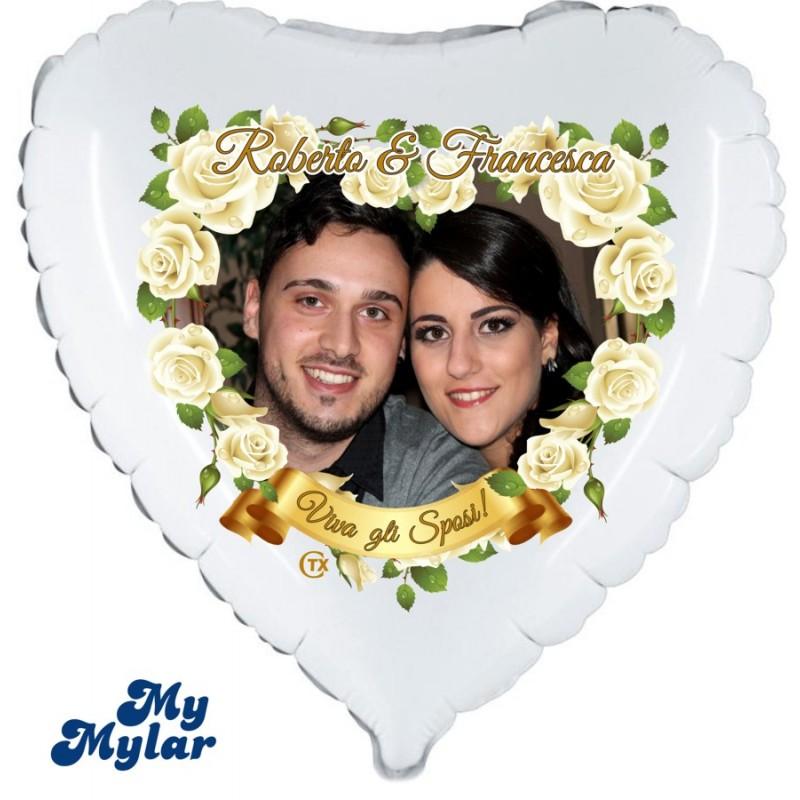 Mylar - Viva gli Sposi Foto + Nomi (Medio)