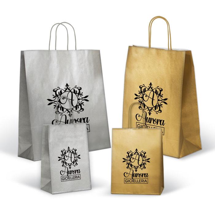 Shopper Fondo Pieno Oro - Argento Maniglia Ritorta