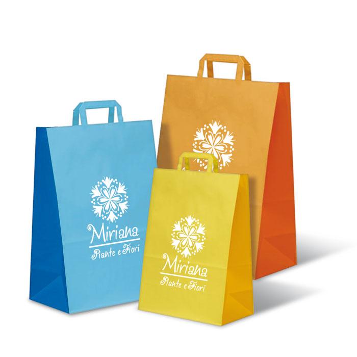 Shopper Bicolore Kraft bianco - Maniglia Piatta