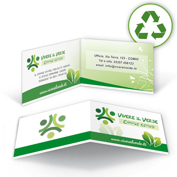 Biglietti da visita pieghevoli carte riciclate